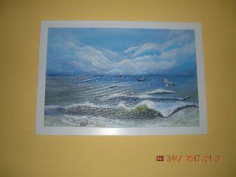 Pejzaż morski namalowany akrylem na płótnie.