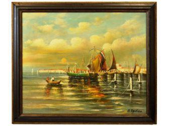 """Duży obraz olejny na płycie """" Połów w Porcie """" wym. 60x70 cm. w drewnianej ramie"""