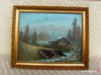 """Ładny obraz """" Pejzaż górski """" autor I.Cardini w starej złoconej ramie"""